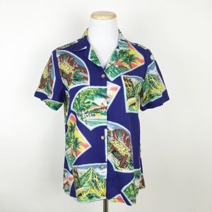 VTG Tropical Postcard Print Hawaiian Shirt 80s 90s
